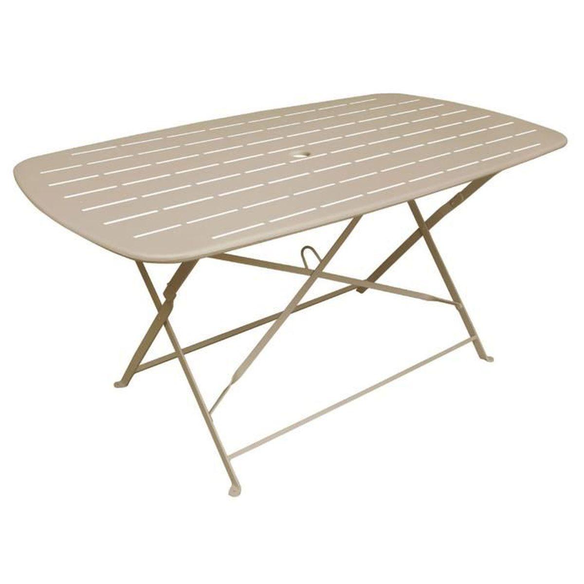 Mathew Table de jardin pliante taupe en acier (4 à 6 places) - Achat ...