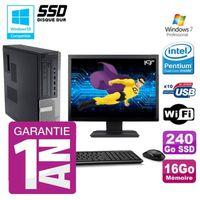 UNITÉ CENTRALE + ÉCRAN PC Dell 790 DT Intel G630 16Go Disque 240Go SSD Gr
