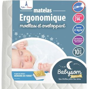 MATELAS BÉBÉ Babysom - Matelas Bébé Ergonomique - 60x120cm - Ep