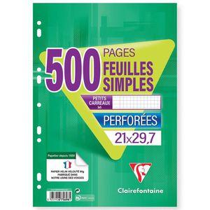 BLOC NOTE CLAIREFONTAINE Feuilles simples perforées 500 page