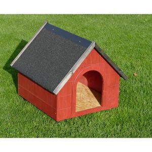 NICHE Niche en bois pour chien toit pointu TAILLE M roug