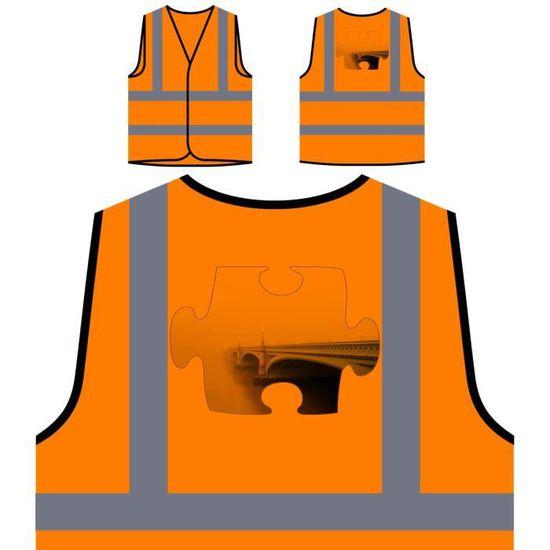 Orange Fog Veste puzzle Image À Bridge De Nouveau Haute Person Protection Photo Personnalisée Visibilité U8xwEqS8r