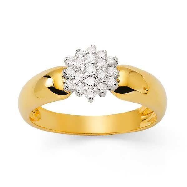 MONTE CARLO STAR - Bague Chou en Or Jaune 9 Carats et Diamants - Femme