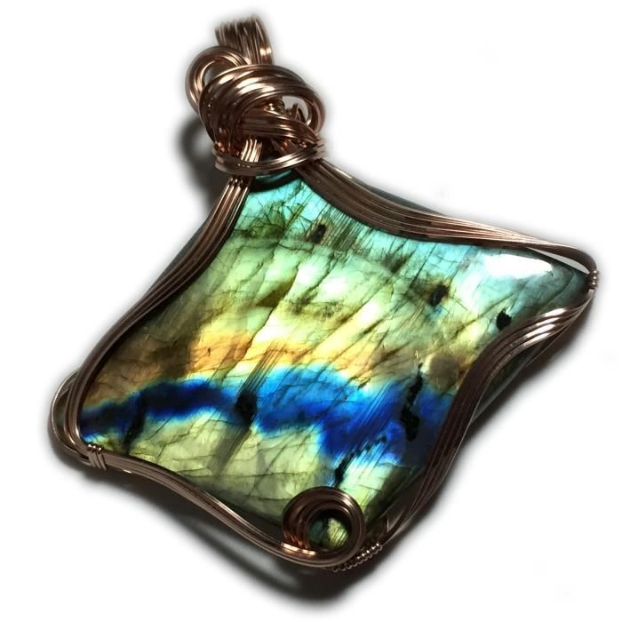 Womens Labradorite Pendant Baby Blue 14k Rose Gold Filled Wire Wrapped Jewelry 5966r1-3 OMKXD
