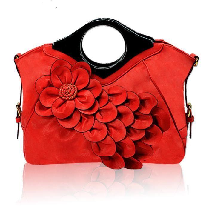 Peacock fleurs sacs à main marée Lady portable rouge sac messager