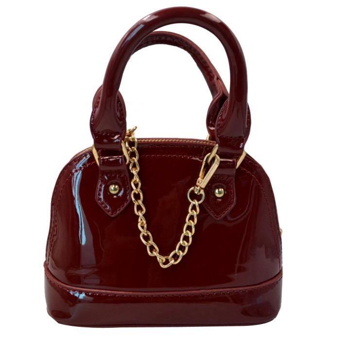 Zip Around Dome Satchel Patent Mini Top poignée Toe sac à main de forme Shell VVB0P