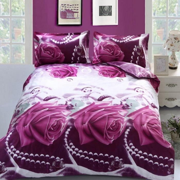 housse de couettes 3d fleur draps de lit couette taies d 39 oreiller 4pc parure de lit achat. Black Bedroom Furniture Sets. Home Design Ideas