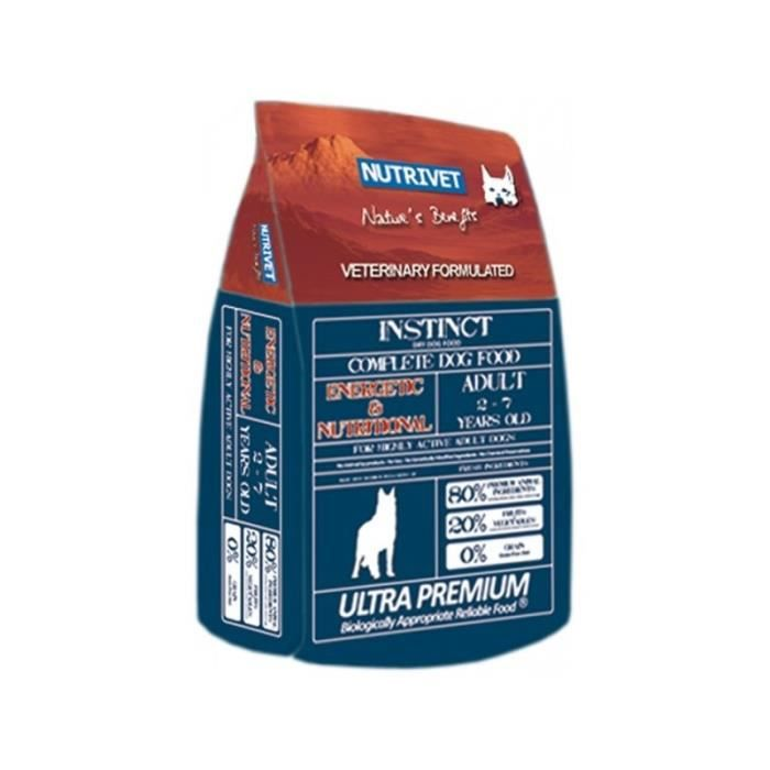 Croquette Nutrivet Instinct Energetic & Nutritional Pour Chien. Formule Vétérinaire, Sans Céréales