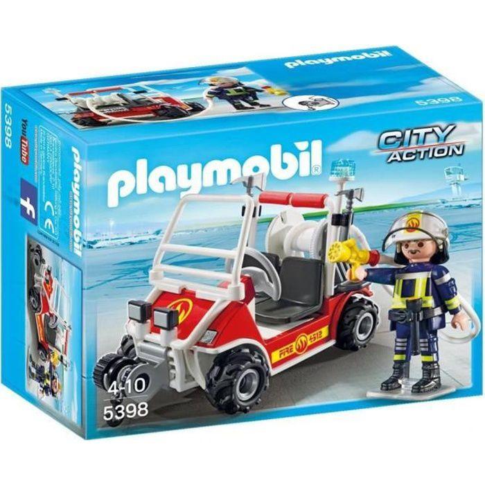 5398 Avec Action Pompiers Voiturette Chef City Des Playmobil YvI76gybf