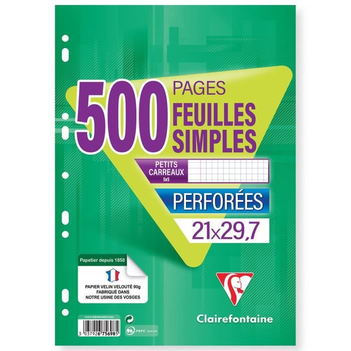 BLOC NOTE CLAIREFONTAINE - 500 Feuilles simples blanches - P