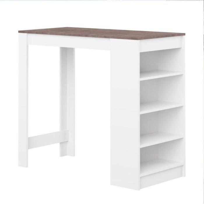 table de bar dolar blanche avec plateau aspect b ton achat vente mange debout table de bar. Black Bedroom Furniture Sets. Home Design Ideas