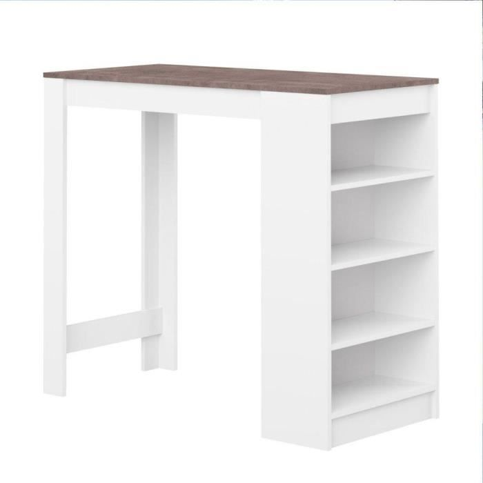 Table de bar dolar blanche avec plateau aspect b ton for Table bar separation cuisine