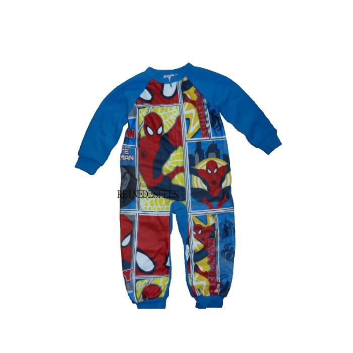 d80dadaeea8fa Surpyjama Spiderman 2 ans combinaison pyjama enfants chaud hiver héro  Marvel à New York grenouillère garçons en polaire bleu