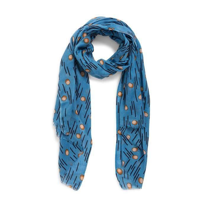 Etole en laine et soie imprimée pois Bleu OCEAN - Achat   Vente ... c52fa245a49