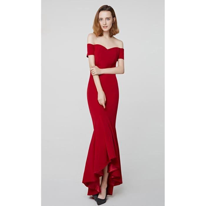 cf55a686c3e Robes de Cérémonie Femme Robe de Soirée Cocktail Longue Sirène Rouge  Manches Courte Epaules Dénudées
