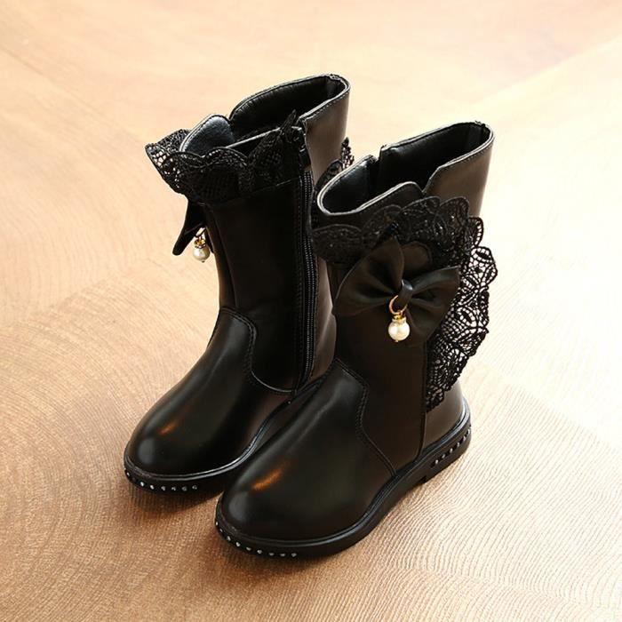 Bottes de fille coton pour enfants, 2018, nouveau, fille bottes, mode, bottes princesse(Noir)