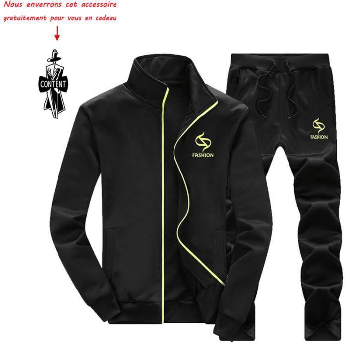 pas mal a636b 5ddad (Veste et pantalon) de survêtement homme Marque Luxe Blouson Pour Homme  Manteau à capuche VêTement Masculin Noir