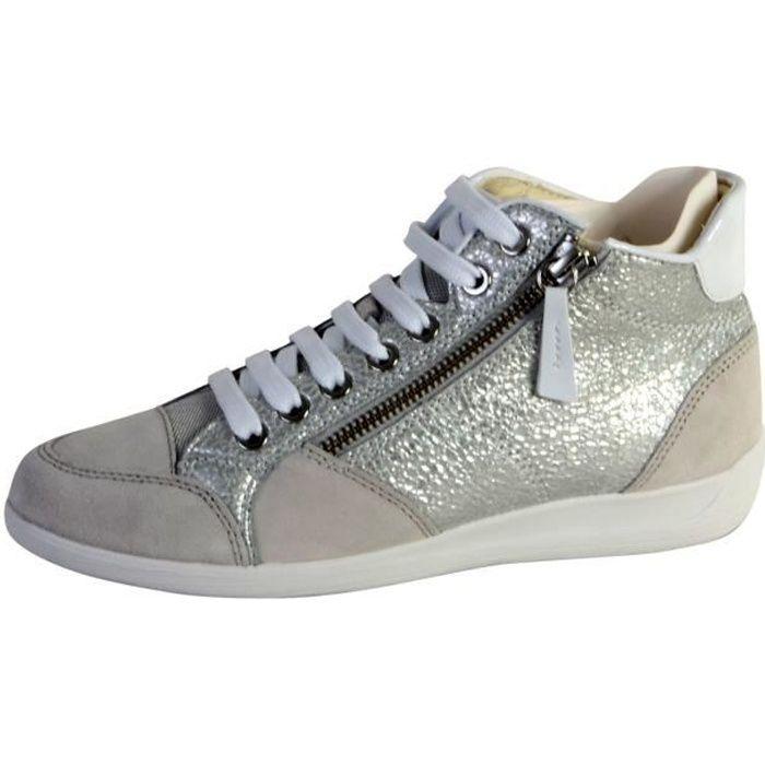 4b6979704ab3c1 Basket Geox D Myria C - Metal Goat+Suede Silver/off white - Achat ...