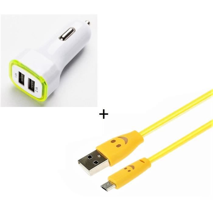 online here best deals on entire collection Pack Chargeur Voiture pour HUAWEI P9 Lite Smartphone Micro-USB (Cable  Smiley + Double Adaptateur LED - Couleur:JAUNE
