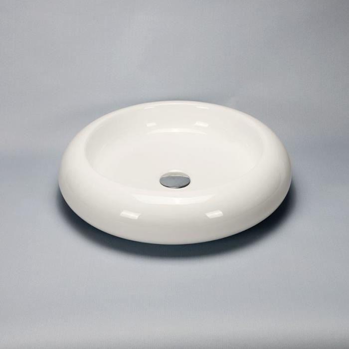 vasque galet EVIER DE CUISINE Vasque à Poser Ronde - Céramique - 46 cm - Nude