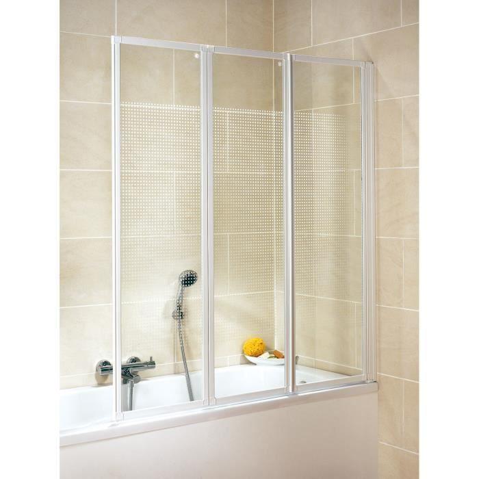pare baignoire pliant 127x140 cm paroi de baignoire 3. Black Bedroom Furniture Sets. Home Design Ideas