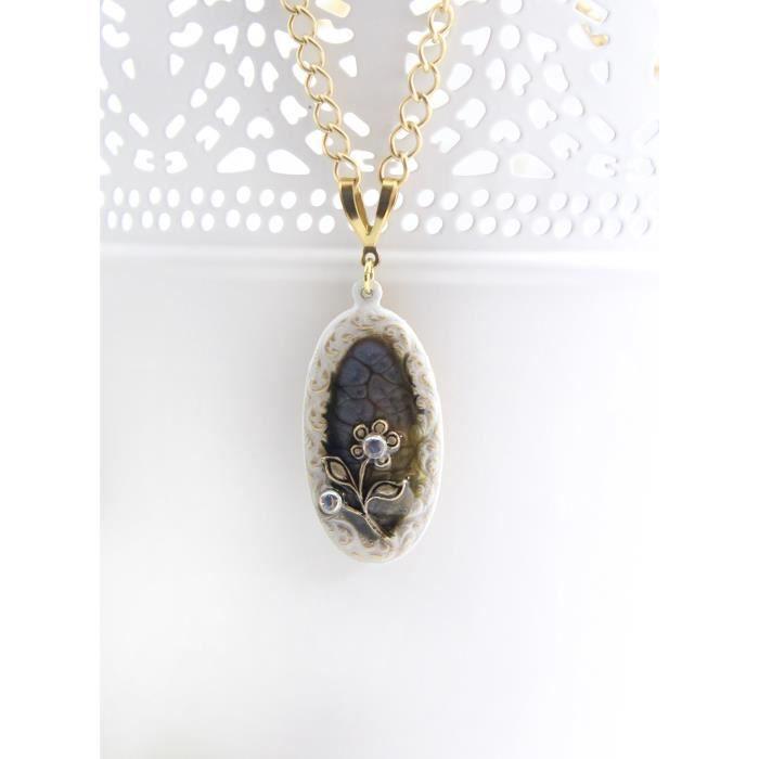 Bleu foncé Femmes Jaune et Blanc Mixte Médias Bohême Art de fleur collier pendentif, 18 pouces Longueur H66BO