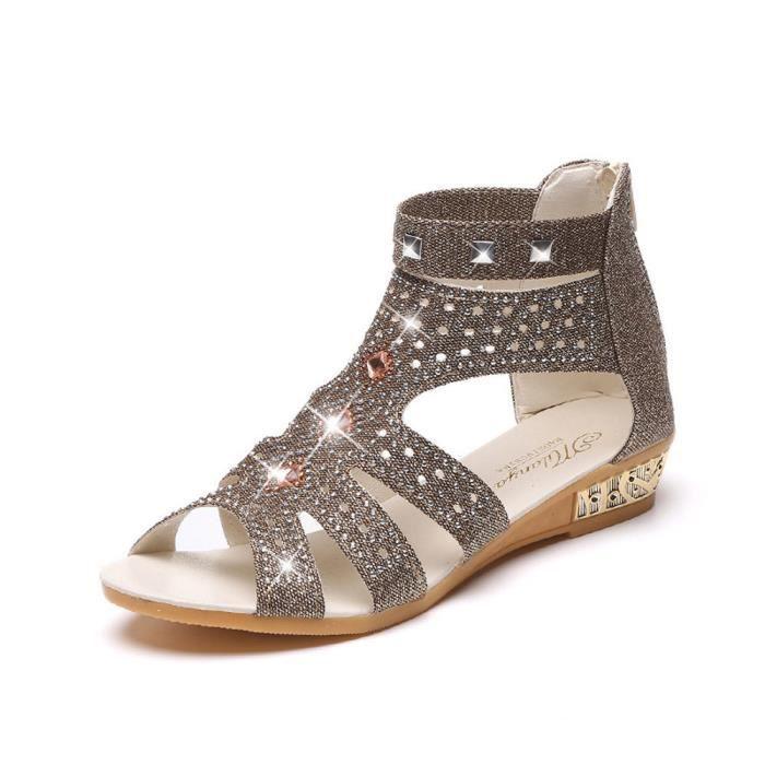 Printemps été femmes sandales compensées mode poisson bouche creuse Roma chaussures LMH71221552_1001 i2pJc2mH