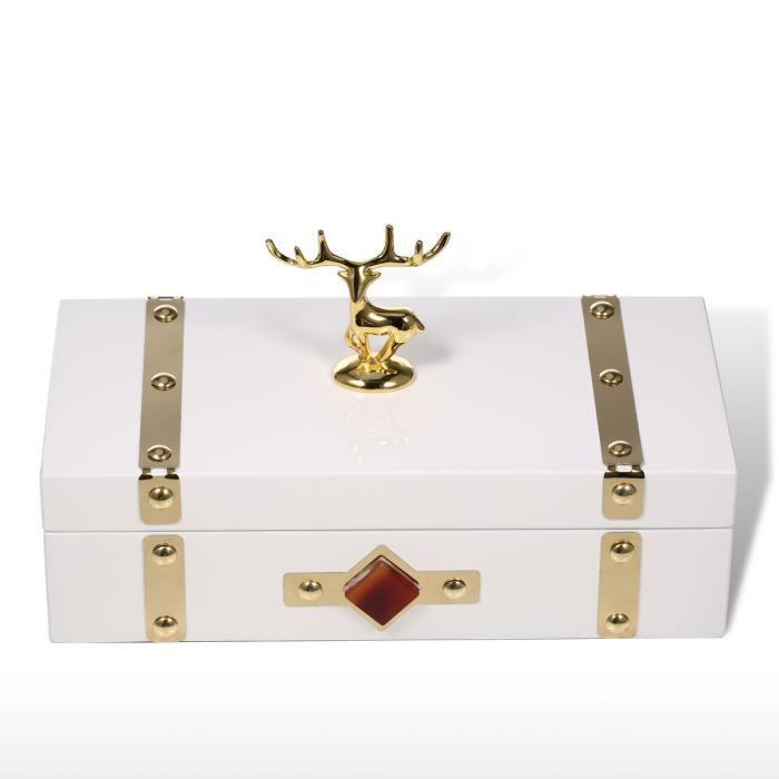 Boîte à Bijoux Rectangulaire (Blanc - Cerf) en Bois Boîtier de Rangement collier bague Cadeau anniversaire pour Femme Velours Noir