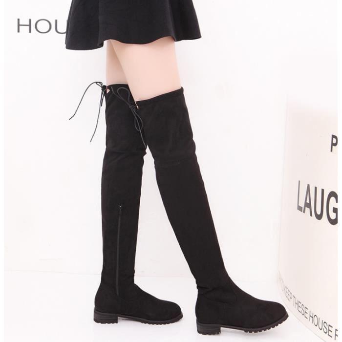 Fashion Bottes Cuissardes femme talon 3cm Sexy pas cher hiver Boutique chaussures confortables®
