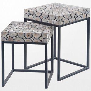 TABLE BASSE Ensemble de tables basses en teck gigognes grises