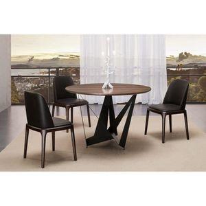 TABLE À MANGER SEULE Table à manger ronde design marron en bois - Antas