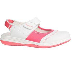 SANDALE - NU-PIEDS Sandale médicale blanche et rose SRC ESD Oxypas Me