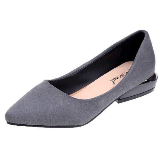Femmes Fashion Pointed Toe Flat Ballet Shallow Shoes Slip On Casual Shoes  Gris_XZ*7633 Gris Gris - Achat / Vente slip-on