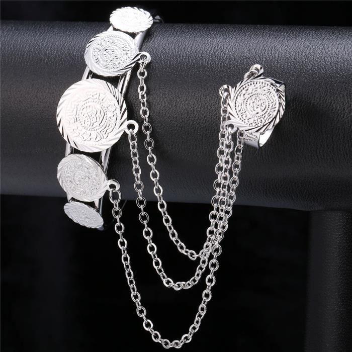 U7 Jonc Bracelet Bague 2 en 1 Bijoux de Main Plaqué Or pour Femme Fille Taille Réglable