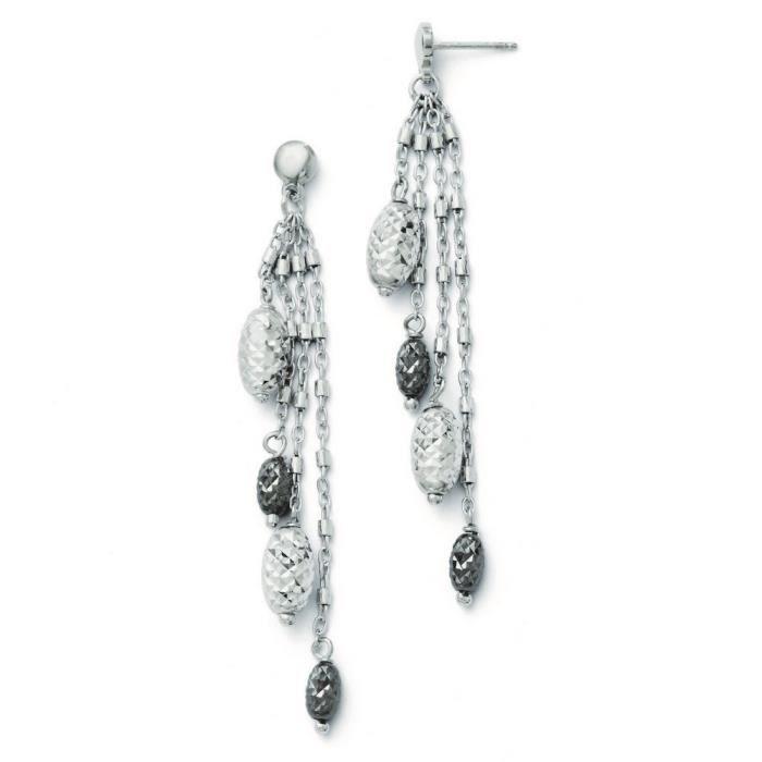 Et ruthénium-Taille diamant Post-Boucles doreilles pendantes