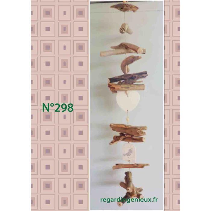Guirlande c ur coquillage en bois flotte n 298 for Guirlande bois flotte maison monde