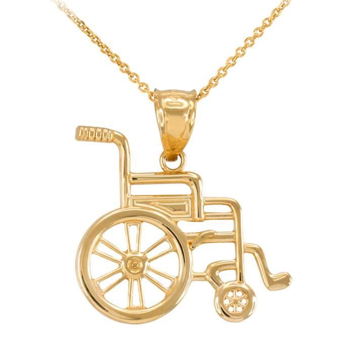 Collier Femme Pendentif 14 Ct Or Jaune Handicap DInvalidité Sensibilisation Fauteuil Roulant (Livré avec une 45cm Chaîne)