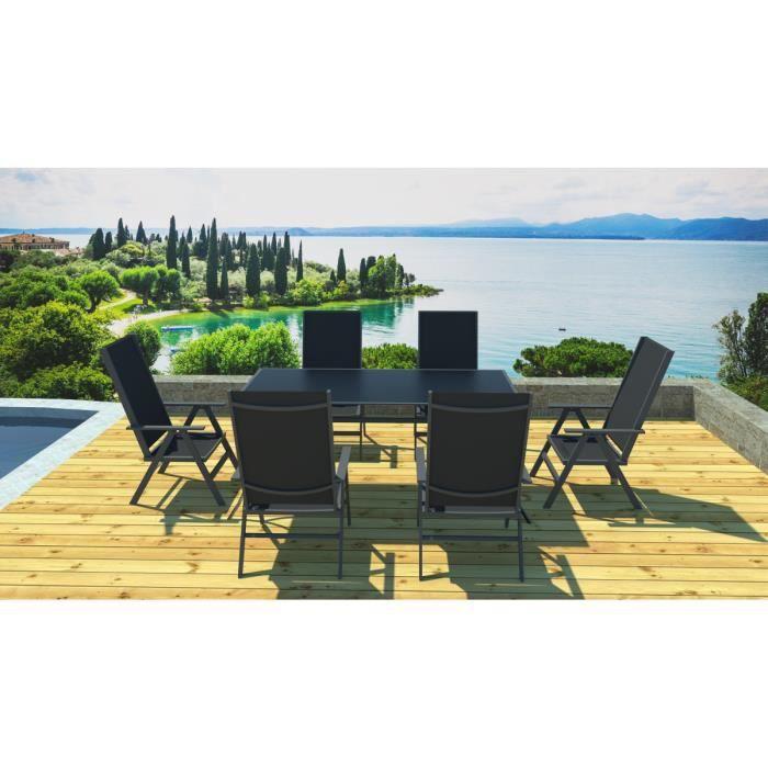 Ensemble jardin aluminium gris noir - Achat / Vente salon de jardin ...