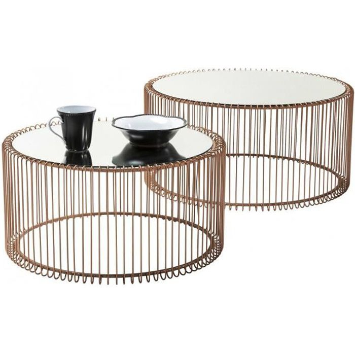 Kare Black Coffee Table: Table Basse Ronde Wire Cuivre 2/set Kare Design