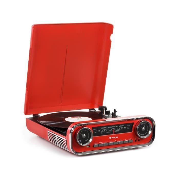 Auna Challenger Lp Platine Disque Vinyle Avec Enceintes Stéréo , Bluetooth Radio Fm & Port Usb -mp3 - Design Rétro Années 70 Rouge