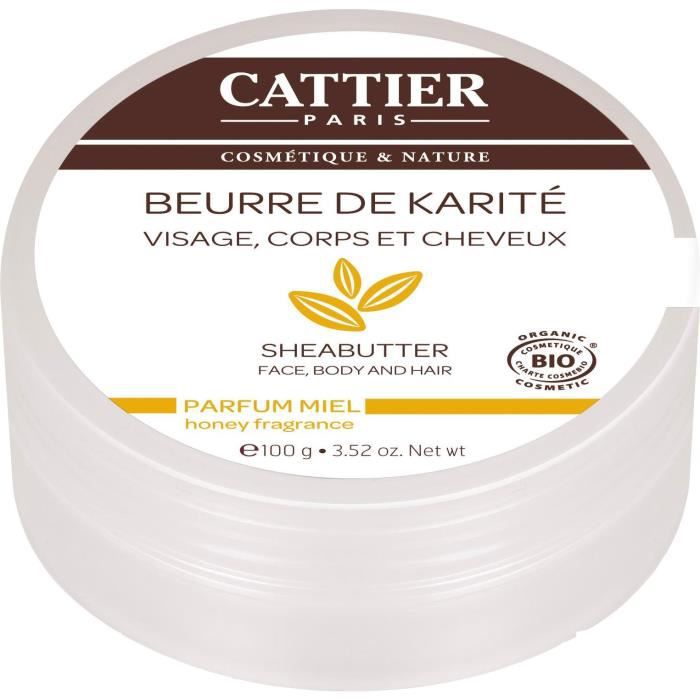 CATTIER Beurre de Karité Bio Parfum Miel 100 g