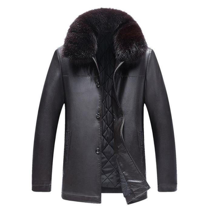 Veste PU Homme Faux Cuir Fourrure Manteau Homme Hiver Marque Épaissir Moto  Blouson Pour Hommes 101e3675cfd2