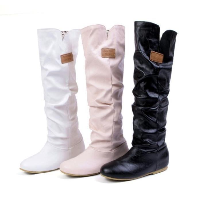 Grande Taille 34-43 Bottes Femmes Mode Boucle de ceinture Automne Chaussures Hiver Femme Semelle en caoutchouc Plateforme Bottes