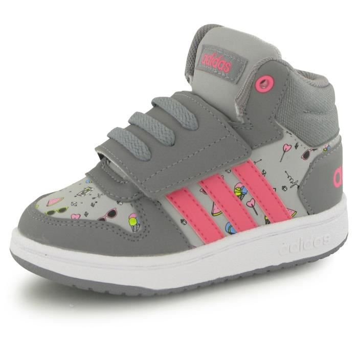 Adidas Neo Hoops Mid 2.0 gris, baskets mode enfant