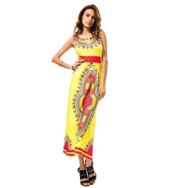 e665e7c8a3a Femmes d été sans manches Casual Floral africaine imprimé tribal Robe  longue Jaune