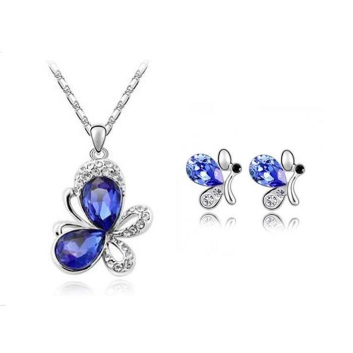 Parure papillons cristal swarovski elements plaqué or blanc Couleur Bleu roi