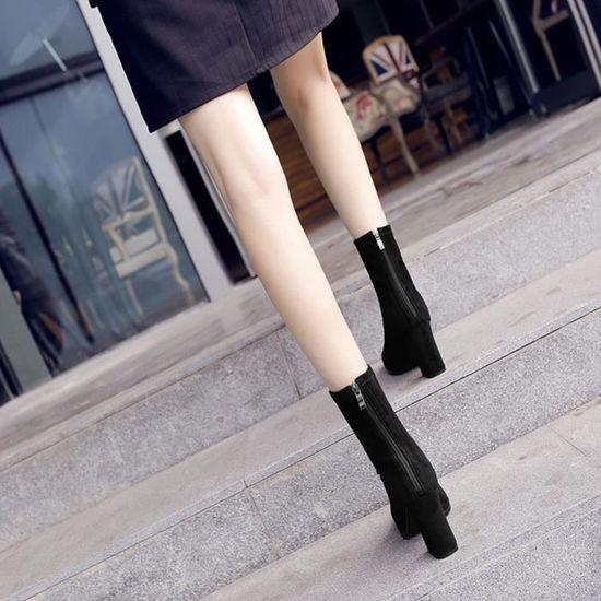 ... Stretchy Noir D hiver Chaussures Carré 38 Bout Fermeture Bottes Femmes  Talon Pointu Haut Éclair ... d762c4482f21