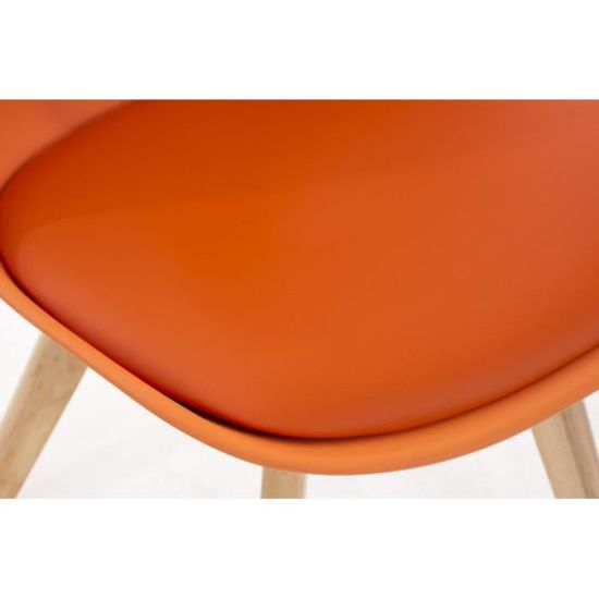 Lot de de pieds CDS10003 scandinave chaises manger orange PU à bois 2 salle VMzSpU
