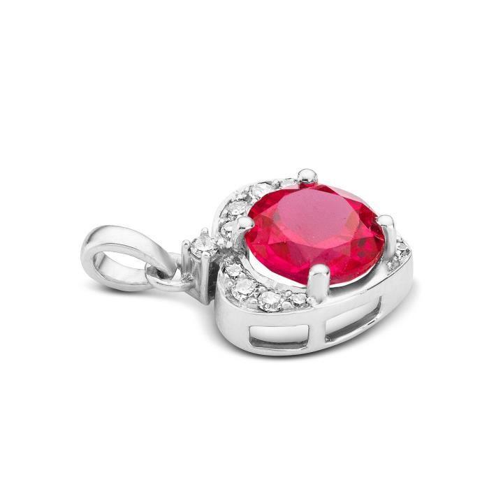 MioreOr blanc diamant et rubis Pendentif coeur avec chaîne dancre de 45 cm 1Z8P0R