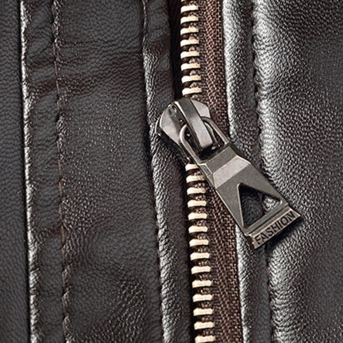 Hommes Casual Color marron Hiver Manteau Pour Perfecto Mode Tops Veste Cuir En Zipper Imitation Pure xawrwYAq